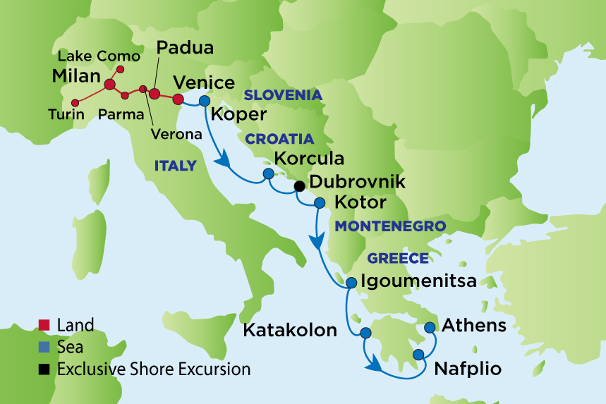 Journey to Northern Italy and the Adriatic - Enrichment Journeys on map of europe with cities, map of italy showing cities, map of switzerland cities,