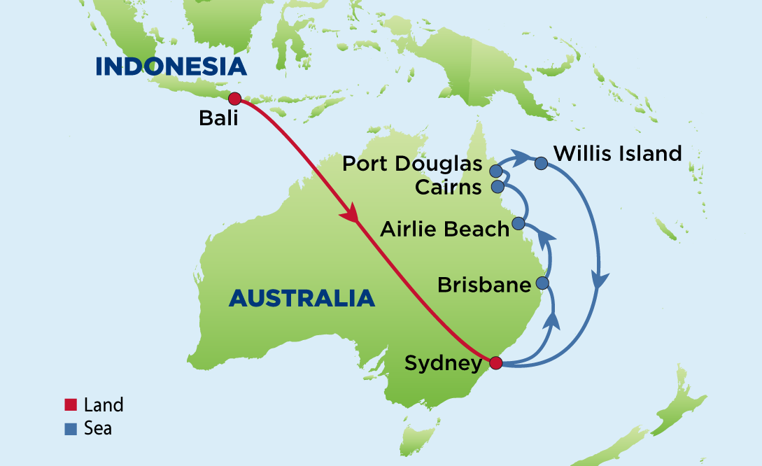 map of bali sydney and australias east coast